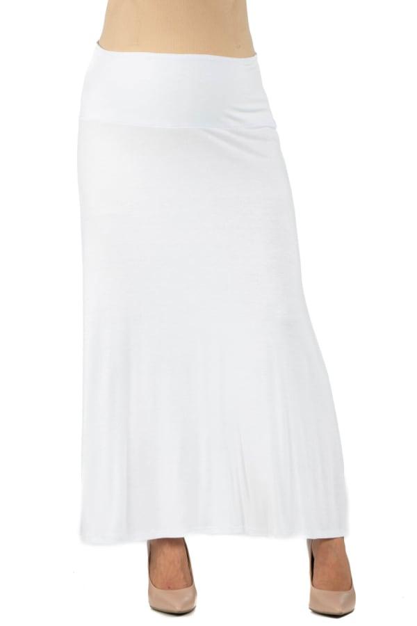 24Seven Comfort Apparel Womens Elastic Waist Solid Color Maternity Maxi Skirt