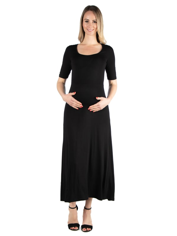 24Seven Comfort Apparel Casual Maternity Maxi Dress With Sleeves