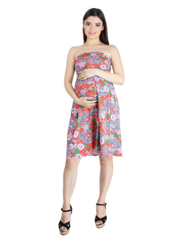 24Seven Comfort Apparel Orange Paisley Strapless Maternity Mini Dress