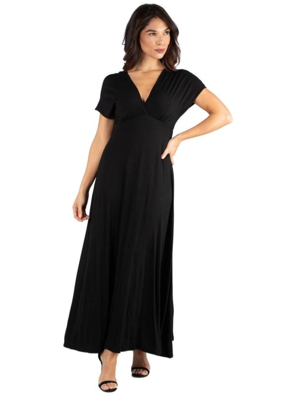 24Seven Comfort Apparel Womens Cap Sleeve V Neck Maxi Dress
