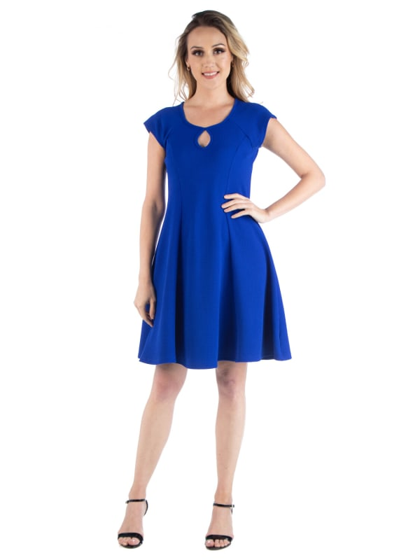 24Seven Comfort Apparel Scoop Neck A Line With Keyhole Detail Dress