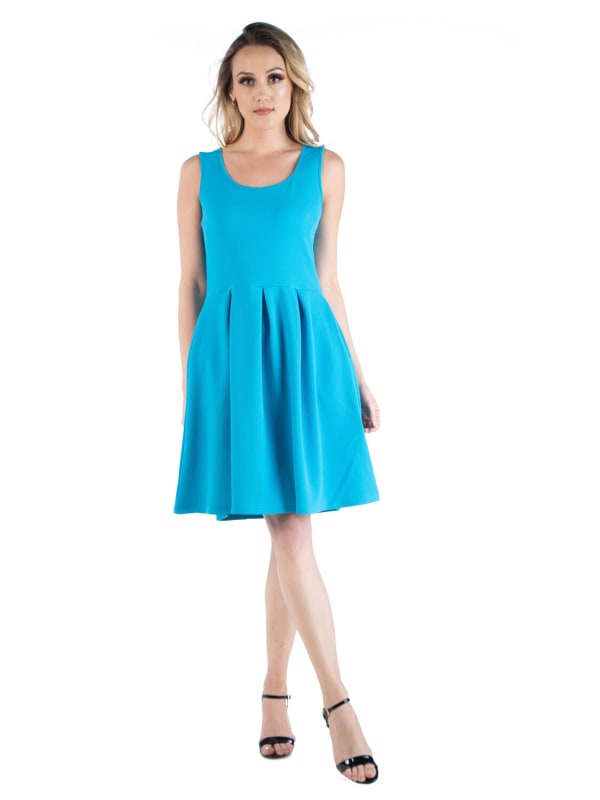 24Seven Comfort Apparel Sleeveless Pleated Skater With Pockets Dress