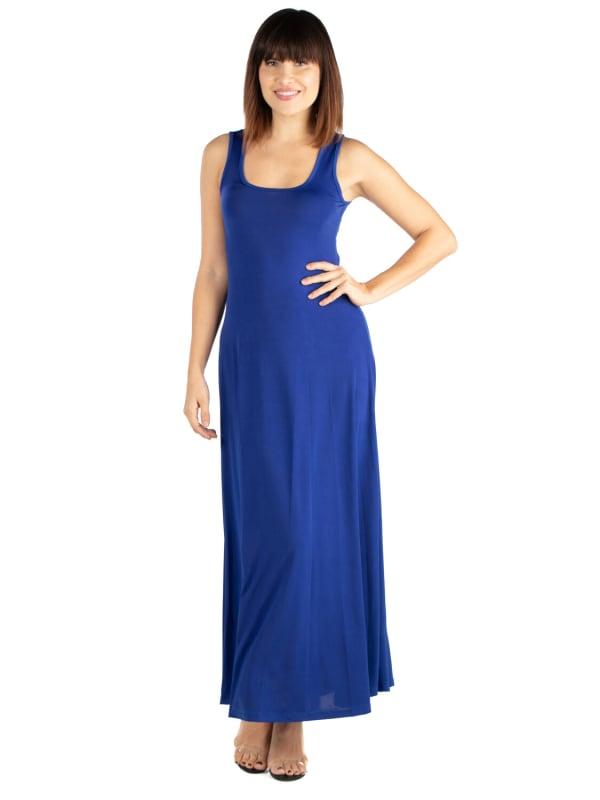 24Seven Comfort Apparel Slim Fit A Line Sleeveless Maxi Dress