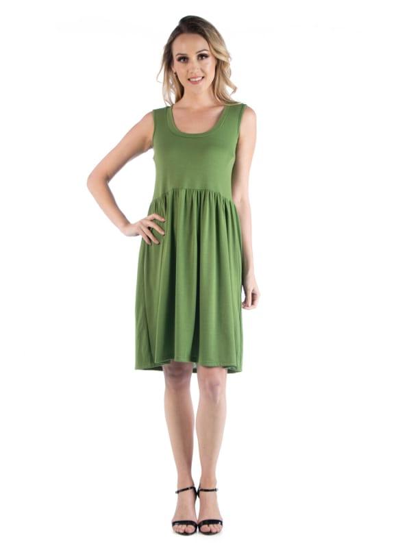 24Seven Comfort Apparel Slim Fit Sleeveless A Line Flare Dress