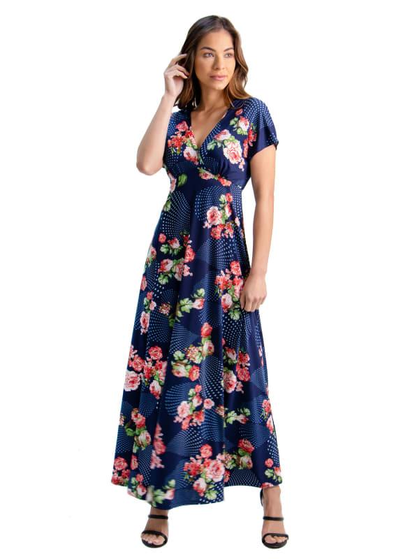 24Seven Comfort Apparel Floral Cap Sleeve Empire Waist Maxi Dress