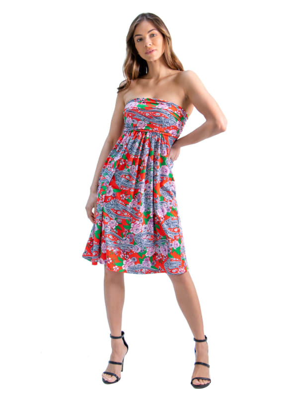 24Seven Comfort Apparel Orange Paisley Strapless Mini Dress