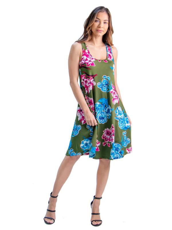 24Seven Comfort Apparel Floral Print Sleeveless Knee Length Dress
