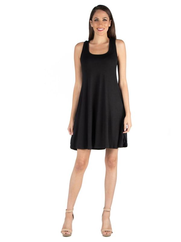 24Seven Comfort Apparel Sleeveless A Line Fit And Flare Skater Dress