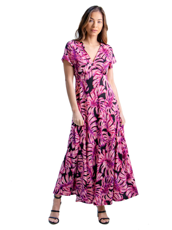 24Seven Comfort Apparel Pink Cap Sleeve Empire Waist Maxi Dress