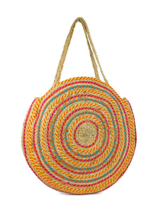 Oversized Woven Straw Jute Circle Tote