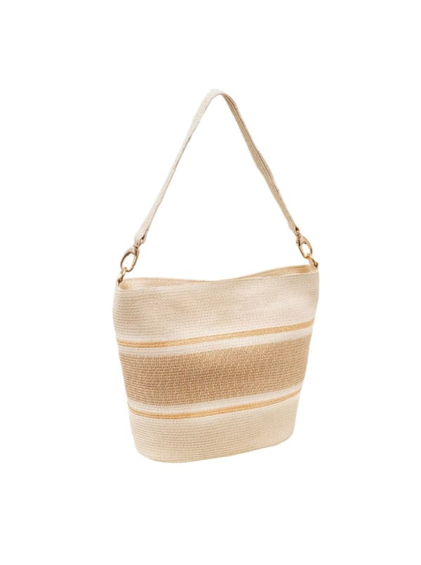 Color Block Striped Straw Handbag