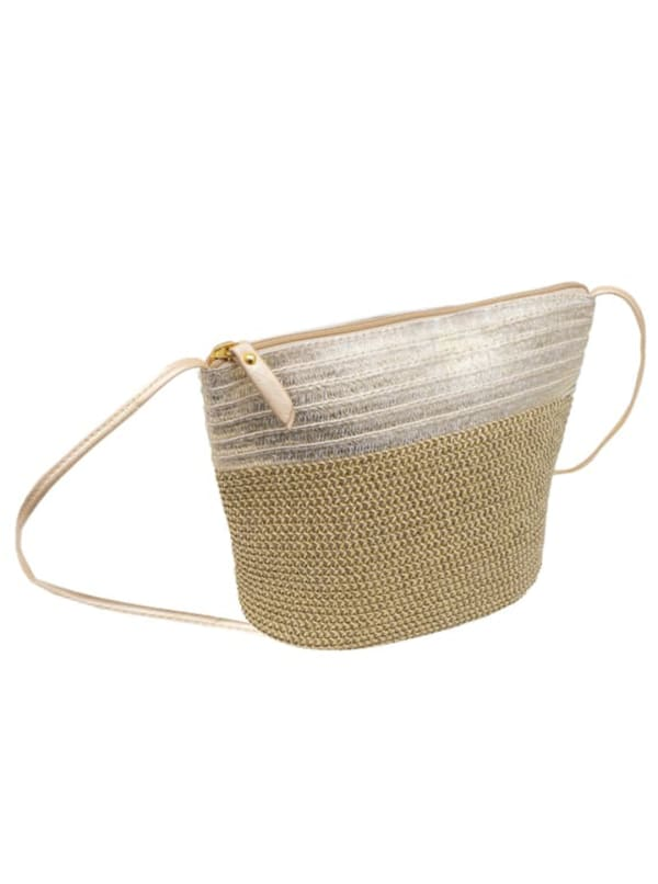 Metallic Color Block Crossbody Bag