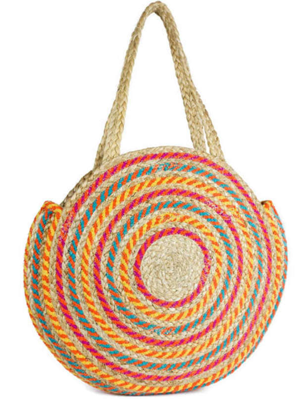 Woven Straw Jute Circle Shoulder Bag