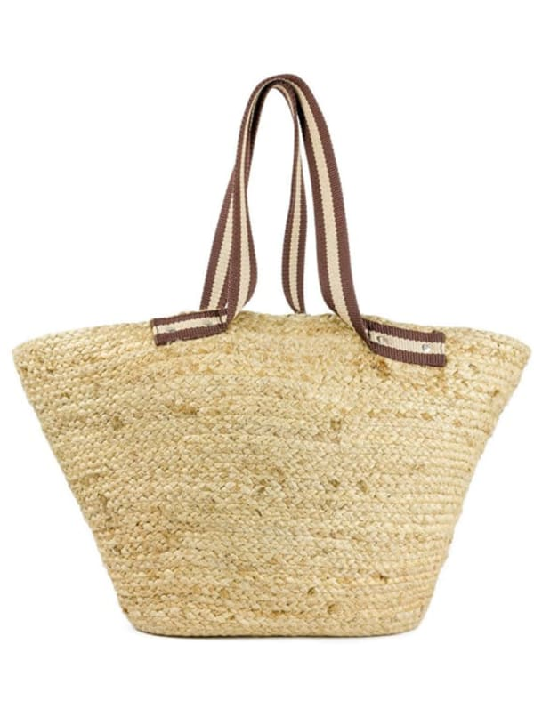 Straw Jute Beach Tote with Striped Canvas Handle