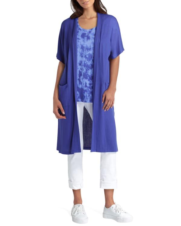 Isaac Mizrahi Short Sleeves Long Knit Cardigan