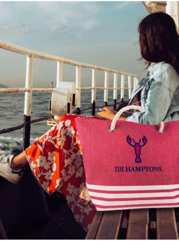 The Hamptons Striped Straw Beach Tote