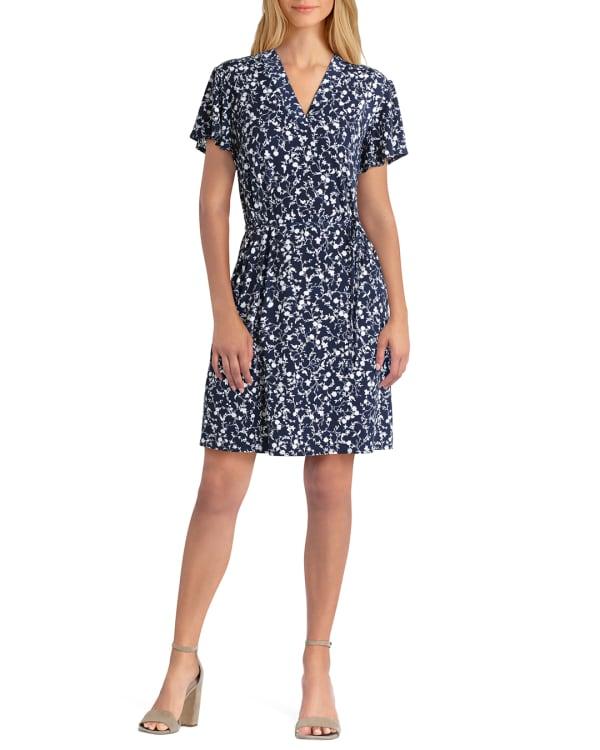 Isaac Mizrahi Short Sleeves V-Neck Dress