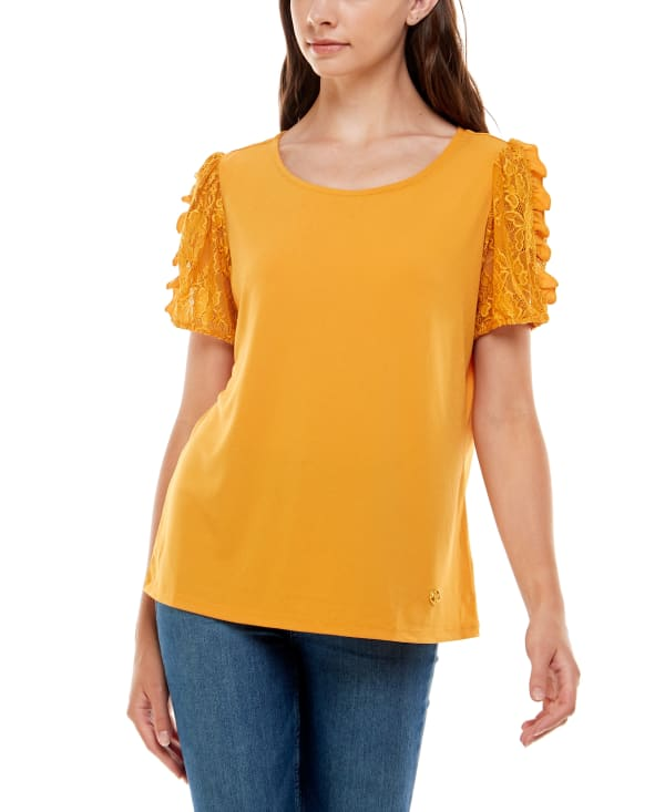 Short Sleeve With Lace Sleeves Top