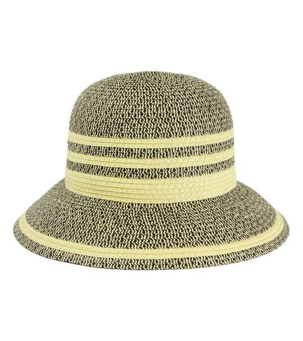 Two Tone Straw Contrast Striped Brim Straw Bucket Hat