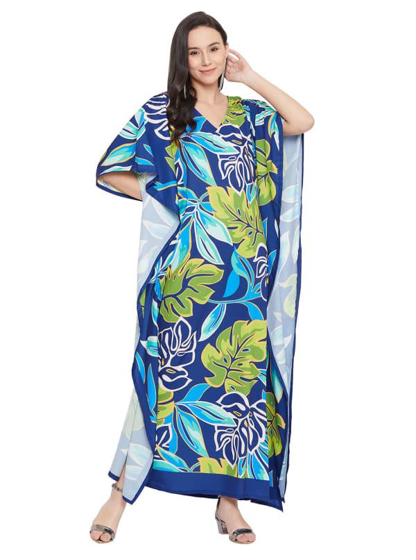 Blue & Green Maxi Kaftan Dress - Plus