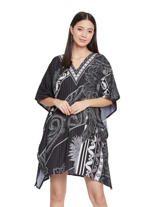 Printed Polyester Kaftan Dress - Plus