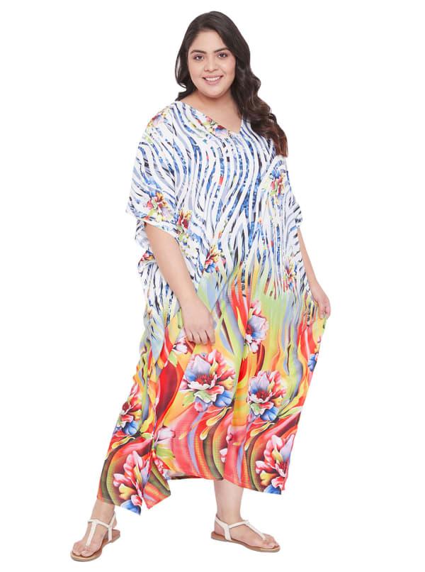 Wide Sleeves Multicolour Polyester Kaftan Dress - Plus