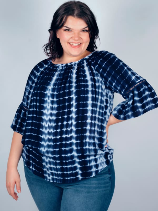 """Westport Tie Dye """"On And Off The Shoulder"""" Blouse - Plus"""