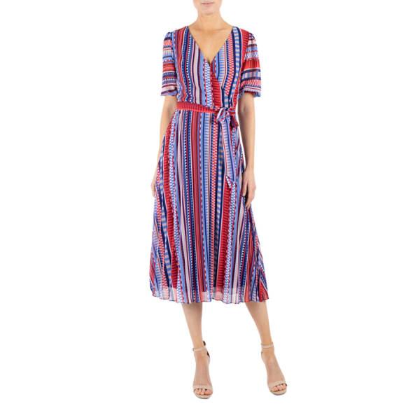 Julia Jordan Wrap Stripe  Dress