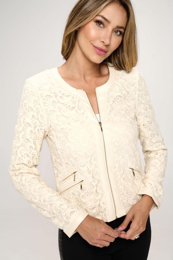KAII Vegan Leather Edged Lace Jacket