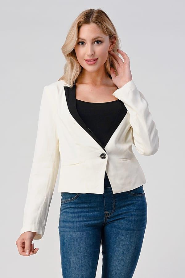 KAII Women Color Blocked Crepe Fashion Blazer