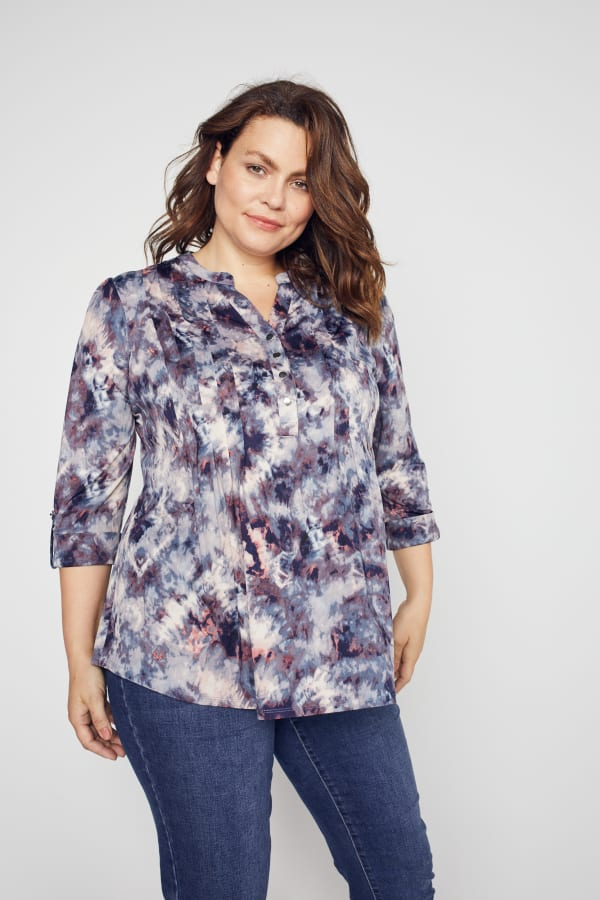 Roz & Ali Batik Tie Dye Popover - Plus