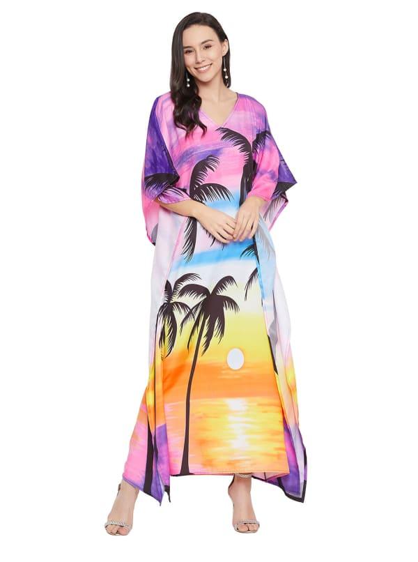 Wide Sleeves Polyester Kaftan Dress - Plus