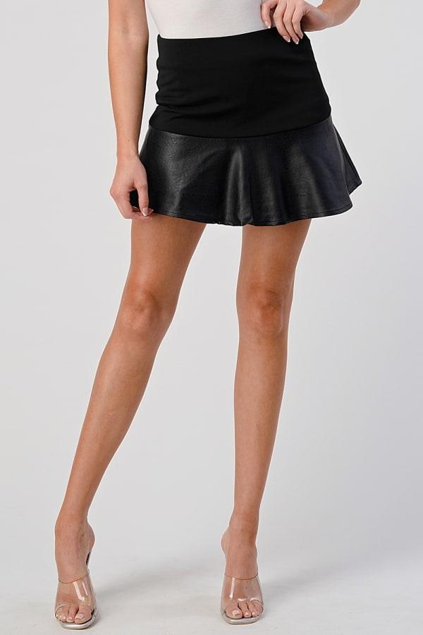 KAII Vegan Leather Mix Flair Skirt
