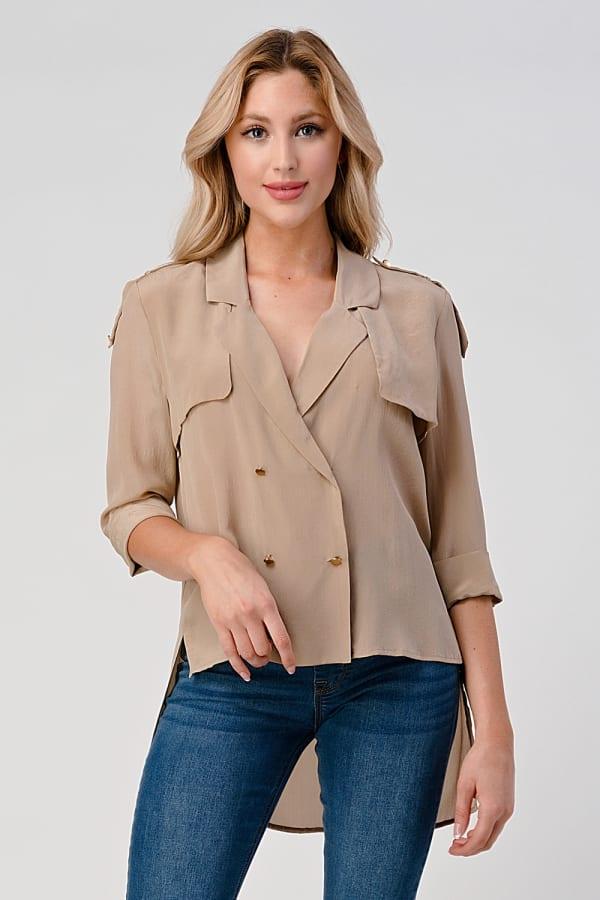 KAII High Low Silk Trench Shirt
