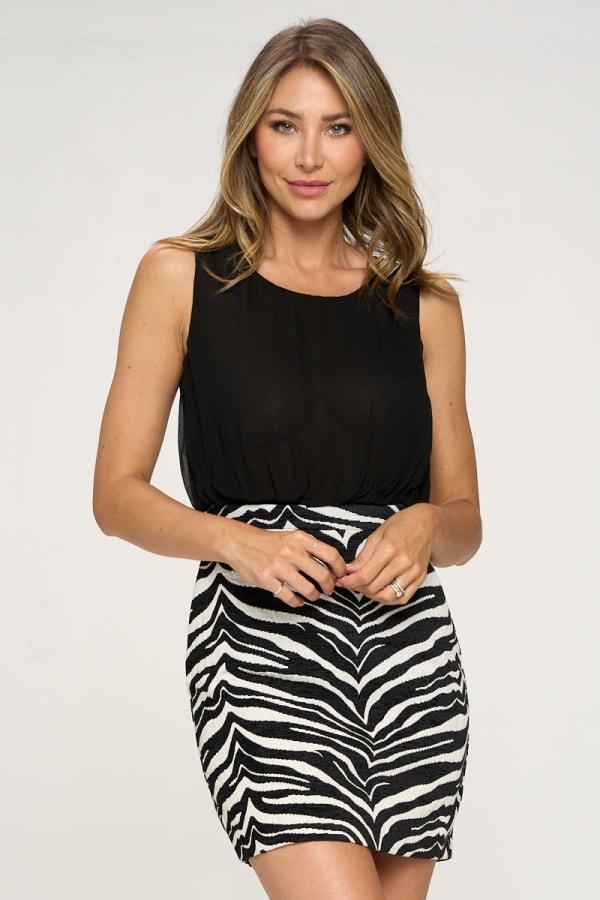 KAII Zebra Bottom Jacquard Dress