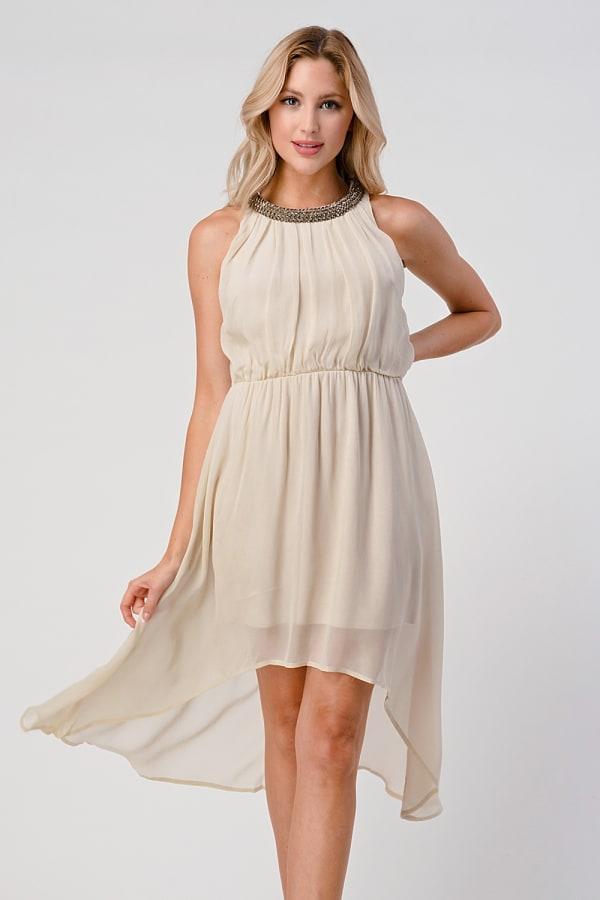 KAII Shiny Stone Neck Trim High Low Dress