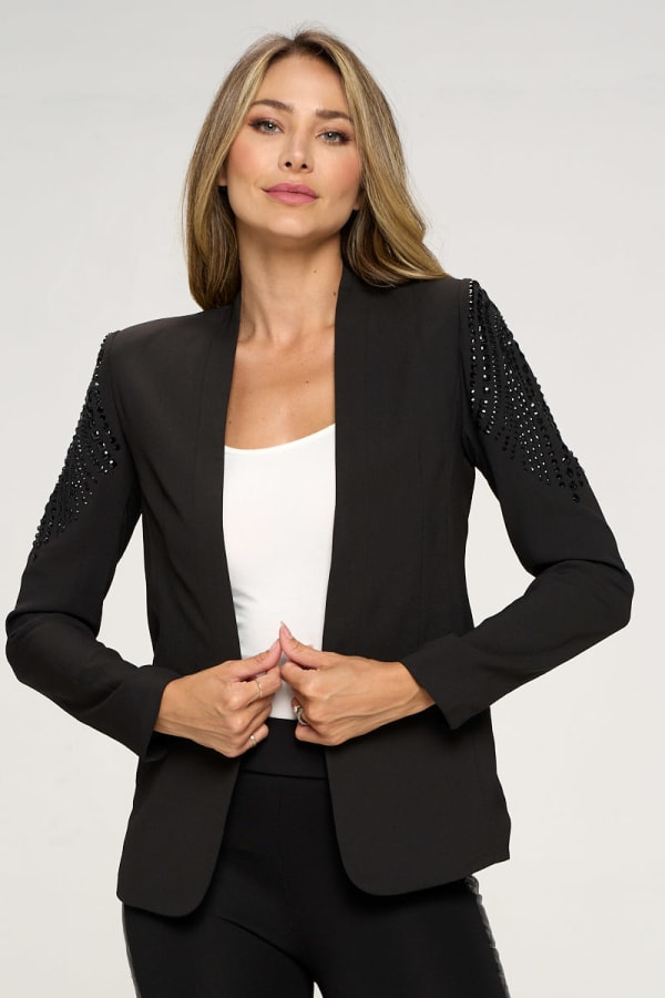 KAII With Stone Accented Sleeves Blazer