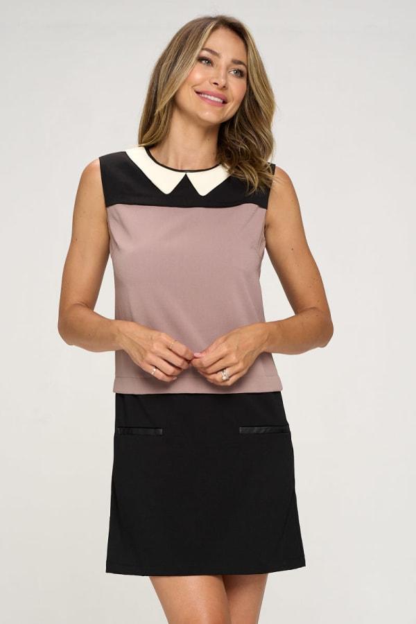 KAII Color Blocked Vegan Leather Contrasting Dress