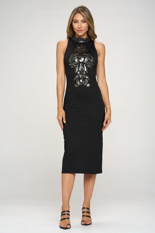 KAII Embellished Beaded Front High Neck Mid Length Dress
