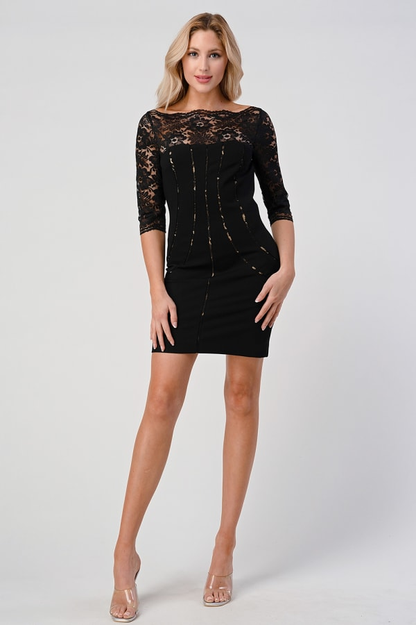 KAII Bustier Lined Lace Top Body Con Dress