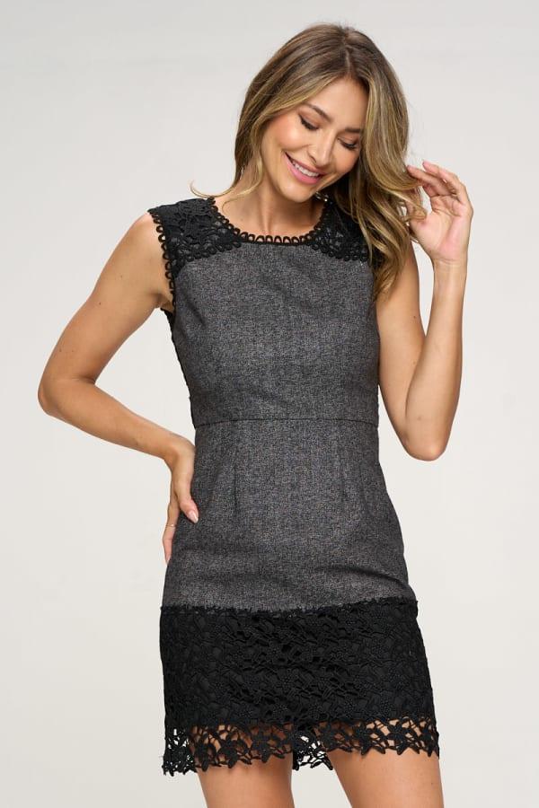 KAII Contrast Lace Yoke Dress