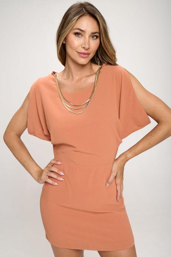 KAII Grecian With Gold Chain Necklace Tunic Dress