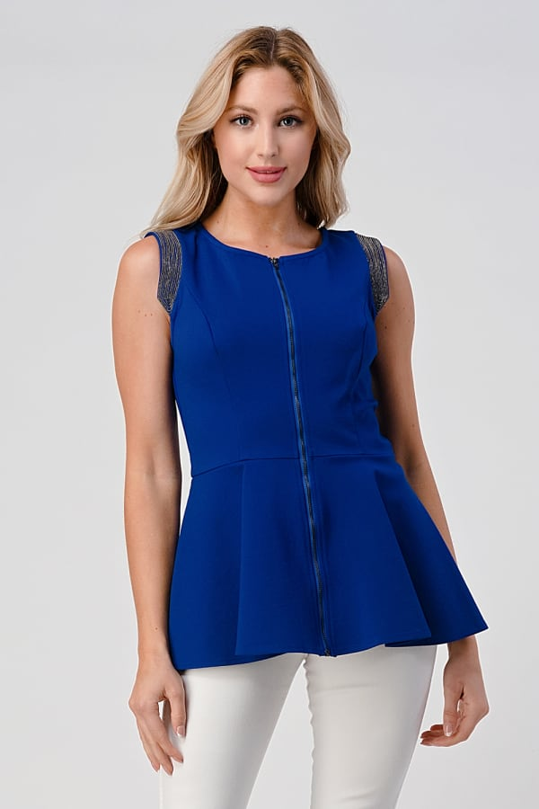 KAII Micro Chain Detailed Front Zipper Top