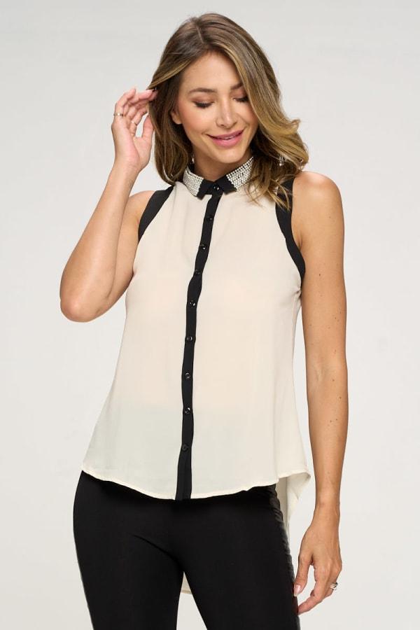KAII Pearl On Collar Sleeveless Shirt