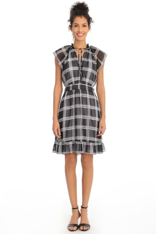 Ruffle Split Neck Elastic Waist Dress