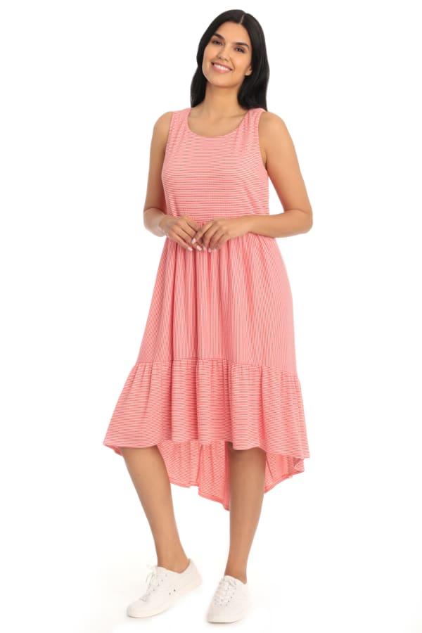 Coral Hi Low Hem Knit Dress