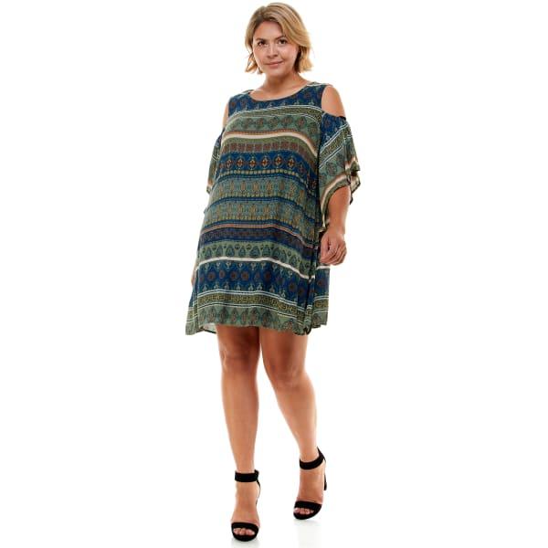 Cold Shoulder Printed Dress - Plus