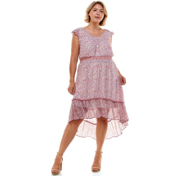 Ditsy Floral Ruffle Hem Chiffon Dress - Plus