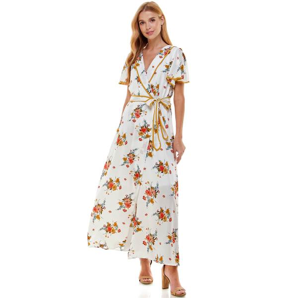 Faux Wrap Floral Maxi Dress