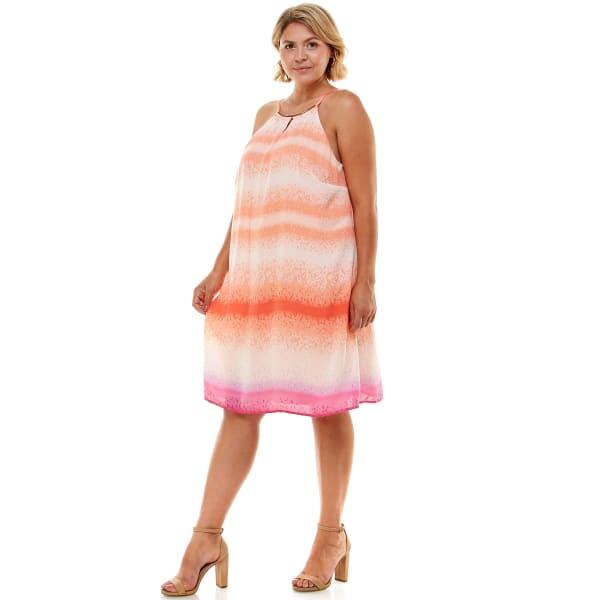 Ombre Stripe  A Line Dress - Plus